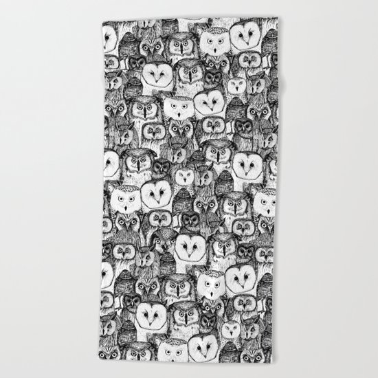 just owls black white Beach Towel