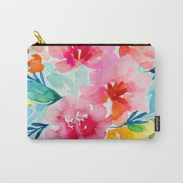 Neon Floral Carry-All Pouch