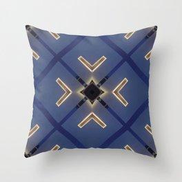 Midnight Blue Luxurious Geometric  Throw Pillow