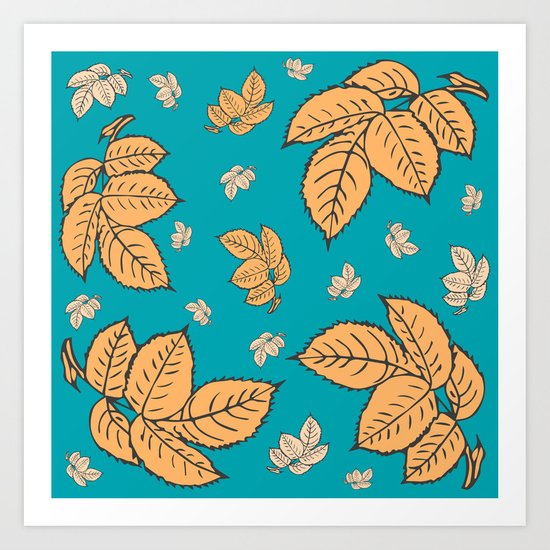 HAPPY LEAVES ON TURQUOISE (abstract tropical flowers) Art Print