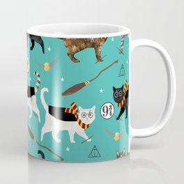 Cat wizard cats magic school pattern Coffee Mug