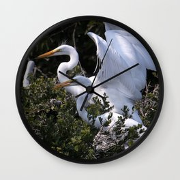 Egret Nest with Fledglings in Rookery Wall Clock