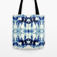 tie dye Tote Bags featuring Tie Dye Blues by Nina May Designs