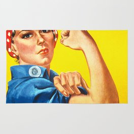 Rosie The Riveter Vintage Women Empower Women's Rights Sexual Harassment Rug