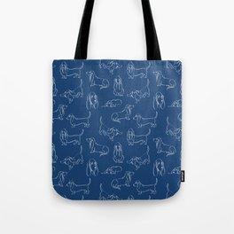Basset Hounds Pattern on Navy Background Tote Bag