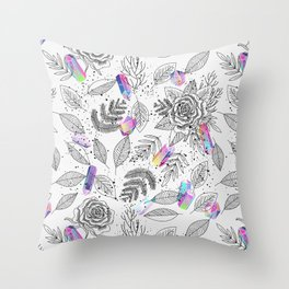 Roses and Crystals Throw Pillow