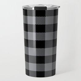 Buffalo Plaid - Black and Grey Travel Mug