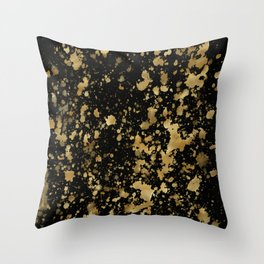 Black & Gold Splash Throw Pillow