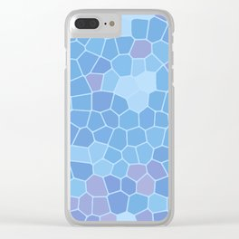 Ice Blue Abstract Blocks Tile Pattern Background Clear iPhone Case