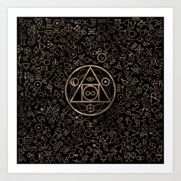 Philosopher's stone symbol and Alchemical  pattern #2 Art Print
