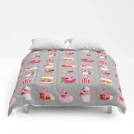Rosa food collage grey Comforters