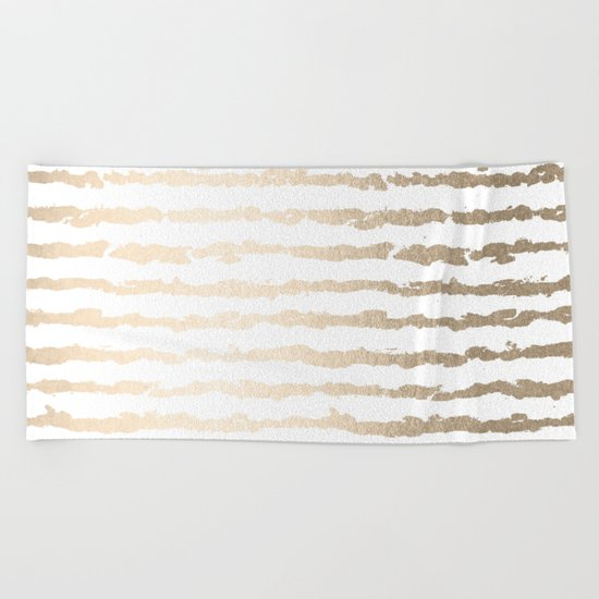 White Gold Sands Ink Stripes Beach Towel