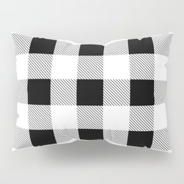 western country french farmhouse black and white plaid tartan gingham print Pillow Sham