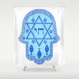 Hamsa for blessings - david shield - blue Shower Curtain