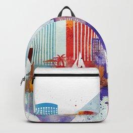 Colorful Honolulu skyline design, Hawaii cityscape Backpack