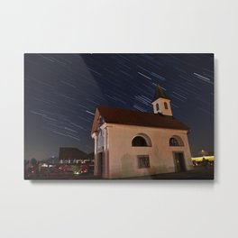 Star trails behind Vodice chapel Metal Print