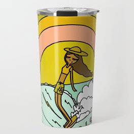 spread sunshine lady slide rainbow surf Travel Mug