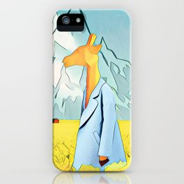 Giraffe in the yellow field of roses iPhone Case