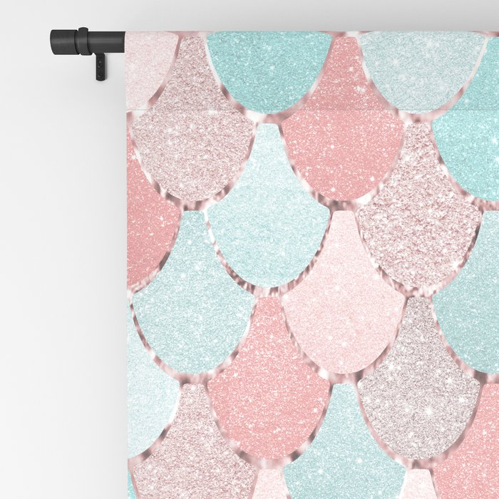 Mermaid Coral, Rose Gold, Pastel Pink, Aqua and Teal, Cute Colorful Pattern Blackout Curtain
