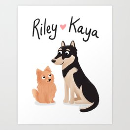 "Custom Dog Artwork, ""Riley and Kaya"" Art Print"