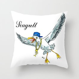 Funny seagull Throw Pillow