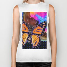 ORANGE MONARCH BUTTERFLY & SOAP BUBBLE IN BLUE OPTICAL ART Biker Tank
