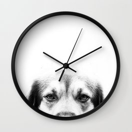 Dog portrait in black & white Wall Clock
