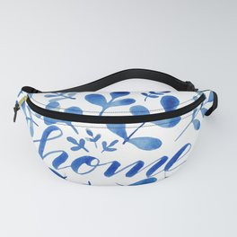 Watercolor home foliage - blue Fanny Pack
