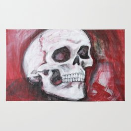 skull in burgundy  Rug