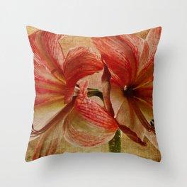 Determined Amaryllis Throw Pillow