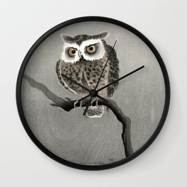 Ohara Koson - Long-eared owl on bare tree branch Wall Clock