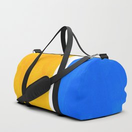 Primary Yellow Cerulean Blue Mid Century Modern Abstract Minimalist Rothko Color Field Squares Duffle Bag