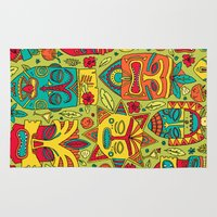 tiki Area & Throw Rugs featuring Tiki tiki by Binnyboo