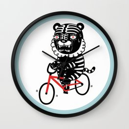 Black Tiger and Bicycle (It's hard to pedal because his legs are not long enough) Wall Clock