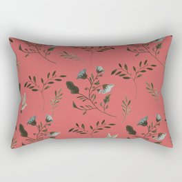 Coral Rose and Bluebells and Bluebirds Floral Pattern Flowers in Blue and Bark Brown Rectangular Pillow
