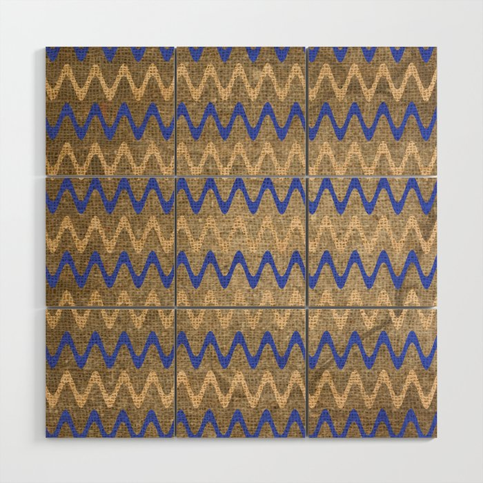 Blue and Tan Zigzag Stripes on Grungy Brown Burlap Graphic Design Wood Wall Art