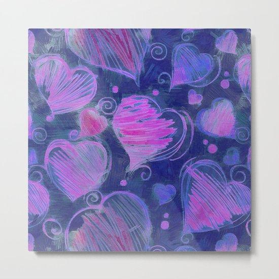 Deep pink and blue hand drawn hearts pattern Metal Print