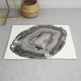 Gray Agate Rose Gold Glitter Glam #1 #gem #decor #art #society6 Rug