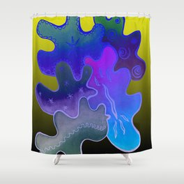 Relaxing Ornamental Spirits. Meditative iFi Art. Stress and Pain Free with MYT3H. Neon. Dreamy. Shower Curtain