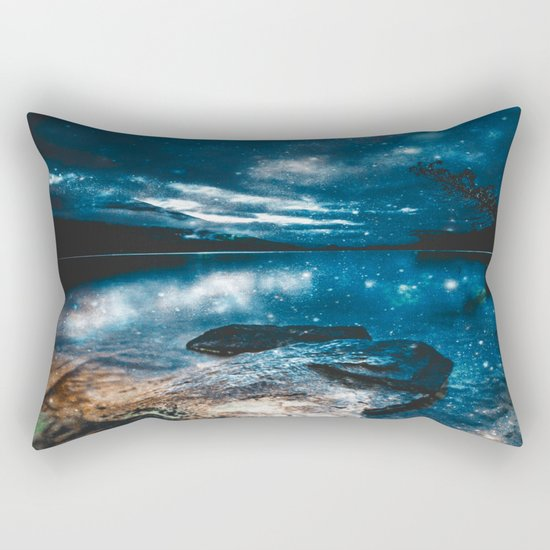 Magical Mountain Lake Teal Blue Brown Rectangular Pillow