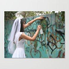 Graffiti Bride Canvas Print