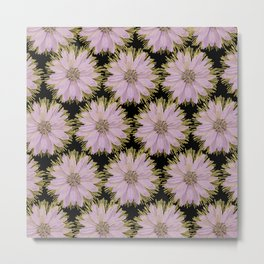 Large Gold & Lilac Flowers On Black Metal Print