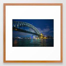 Sydney Opera House and Harbour Bridge at Night Framed Art Print