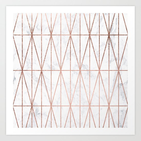 Modern geometric triangles faux rose gold pattern on white marble Art Print