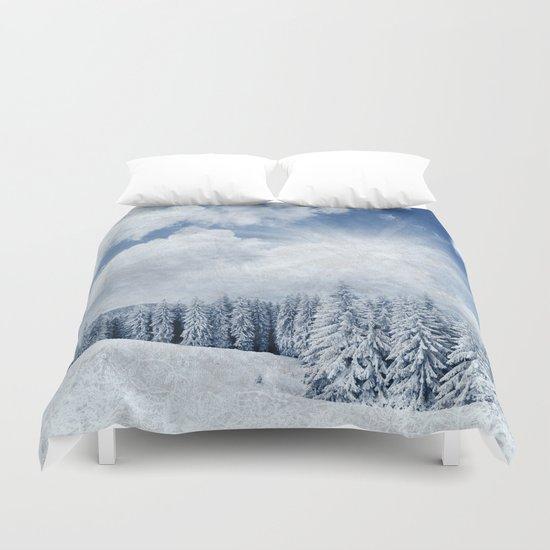 Pretty winter scenery landscape  Duvet Cover