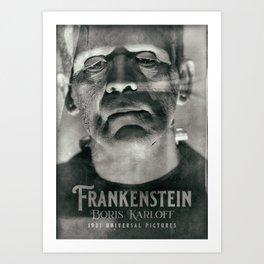 Frankenstein, vintage movie poster, Boris Karloff, horror film, Mary Shelley book cover Art Print