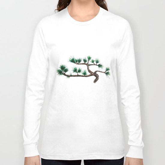 green pine tree painting Long Sleeve T-shirt