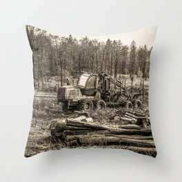 Poltery Site (Wood Storage Area) After Storm Victoria Möhne Forest 7 sepia Throw Pillow