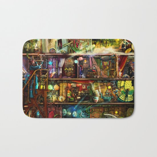 The Fantastic Voyage - a Steampunk Book Shelf Bath Mat