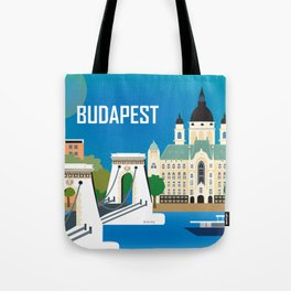 Budapest, Hungary - Skyline Illustration by Loose Petals Tote Bag